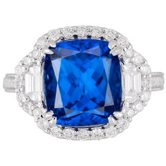 GIA Certified 5.44 Carat Cushion Cut Tanzanite and Diamond Ring 18 Karat Gold