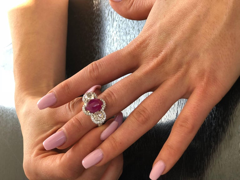 Cabochon Burma Ruby Diamond White Gold Cocktail Ring Weighing 8.85 Carat For Sale 2