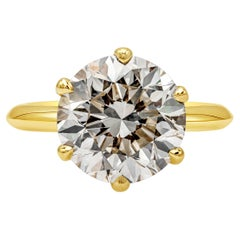 GIA Certified 5.48 Carat Round Diamond Solitaire Engagement Ring in Yellow Gold