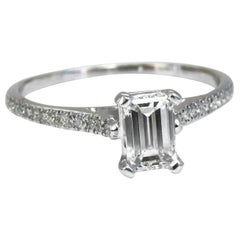 GIA Certified .54 Carat Emerald Cut Diamond Ring 18 Karat