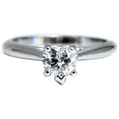 GIA Certified .55 Carat Heart Cut Diamond Solitaire Ring Platinum Classic D/VS