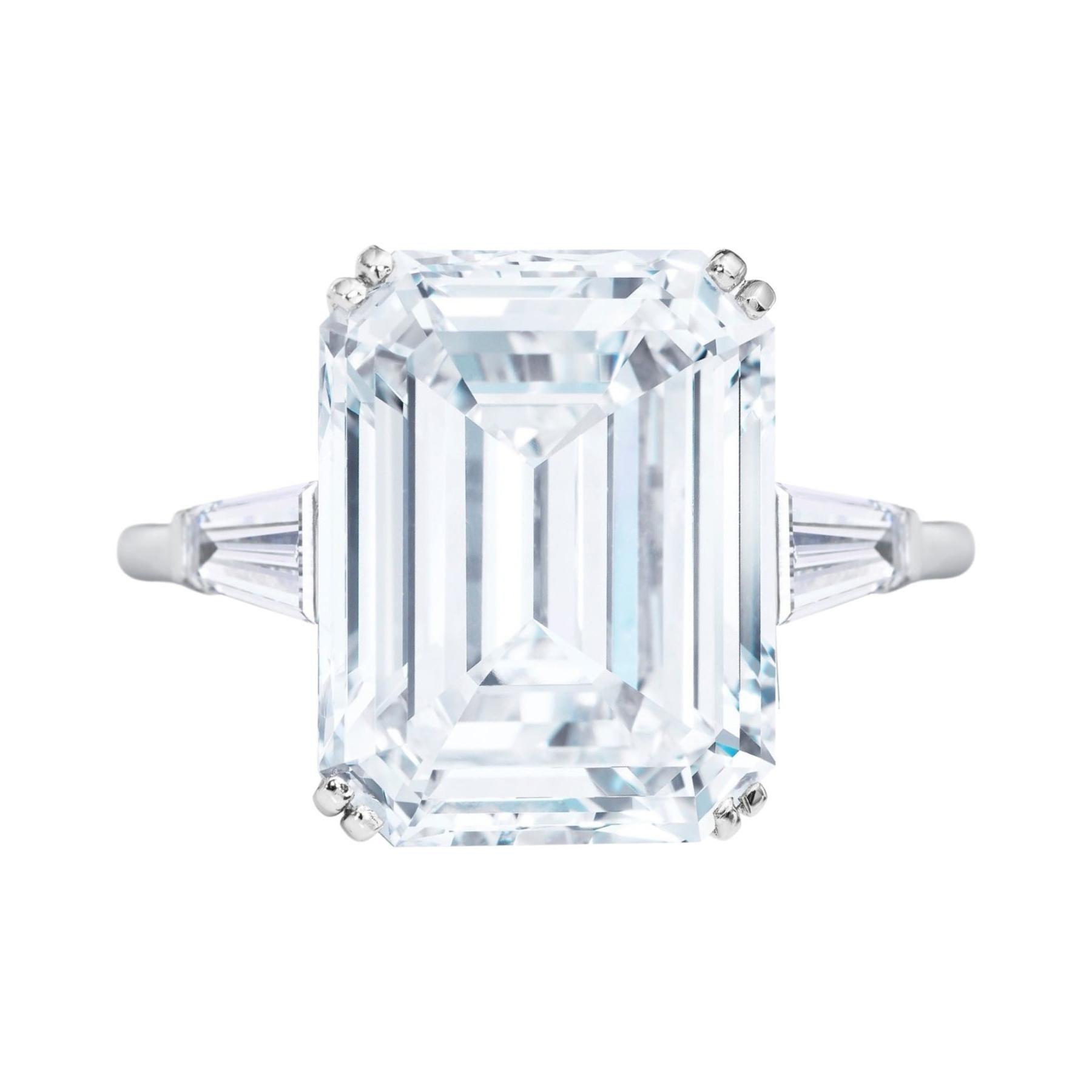 GIA Certified 5 Carat Emerald Cut Diamond Platinum Ring