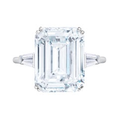 GIA Certified 5.50 Carat Emerald Cut Diamond Platinum Ring