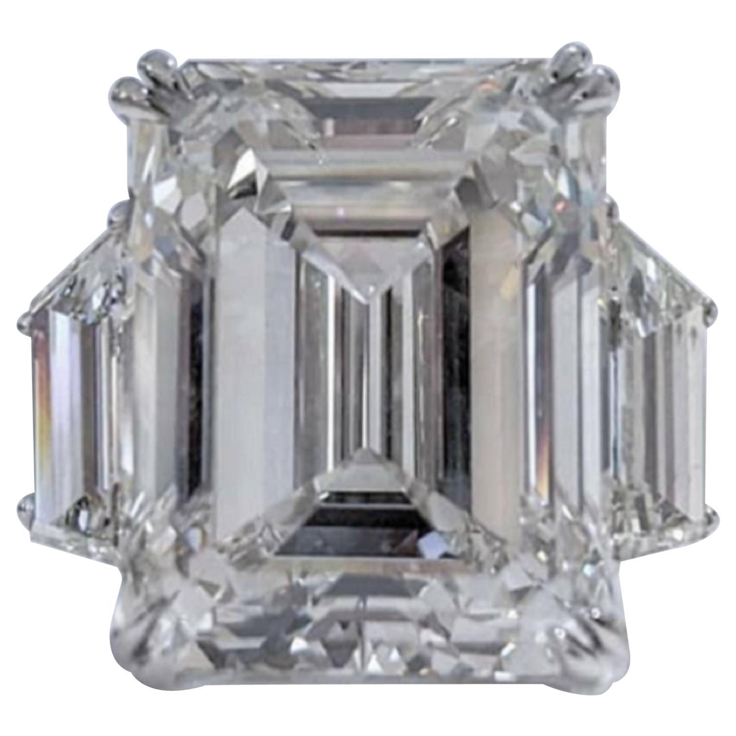 GIA Certified 5.80 Carat Three Stone Emerald Cut Diamond Platinum Ring