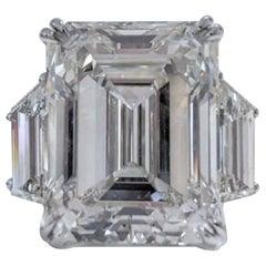GIA Certified 7 Carat Three Stone Emerald Cut Diamond Platinum Ring