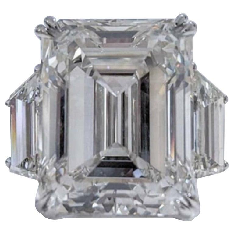 GIA Certified 5.80 Carat Three Stone Emerald Cut Diamond Platinum Ring  For Sale