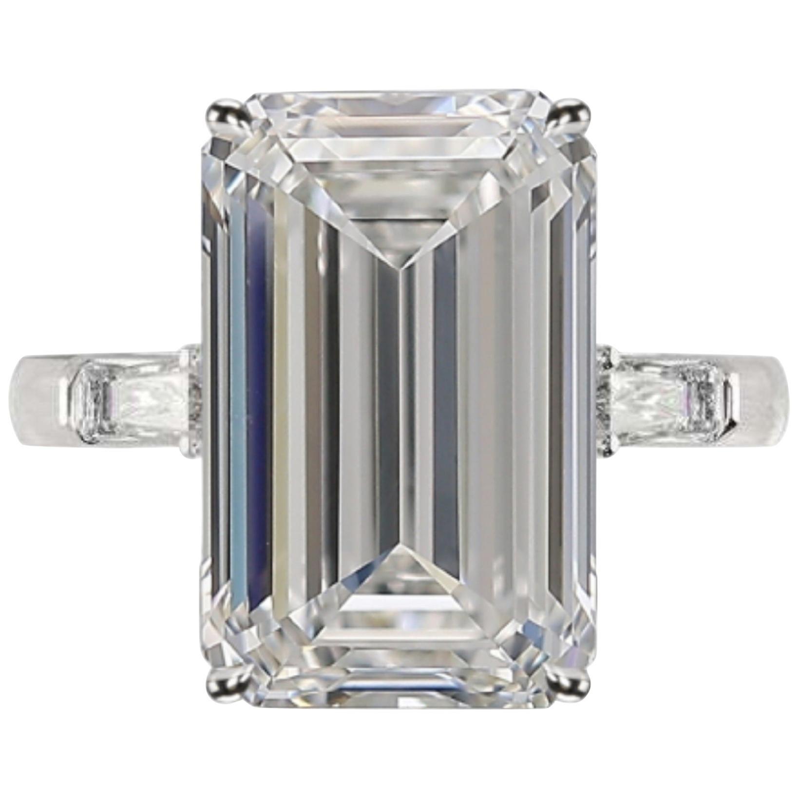 GIA Certified 4.50 Carat Emerald Cut Diamond Ring Long Ratio