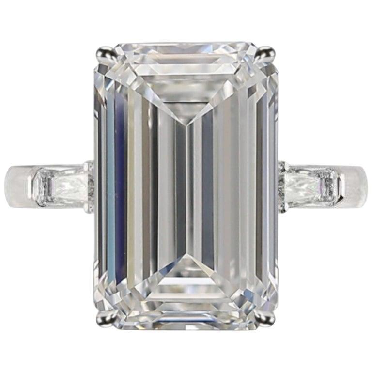 GIA Certified 4.50 Carat Emerald Cut Diamond Ring Long Ratio For Sale