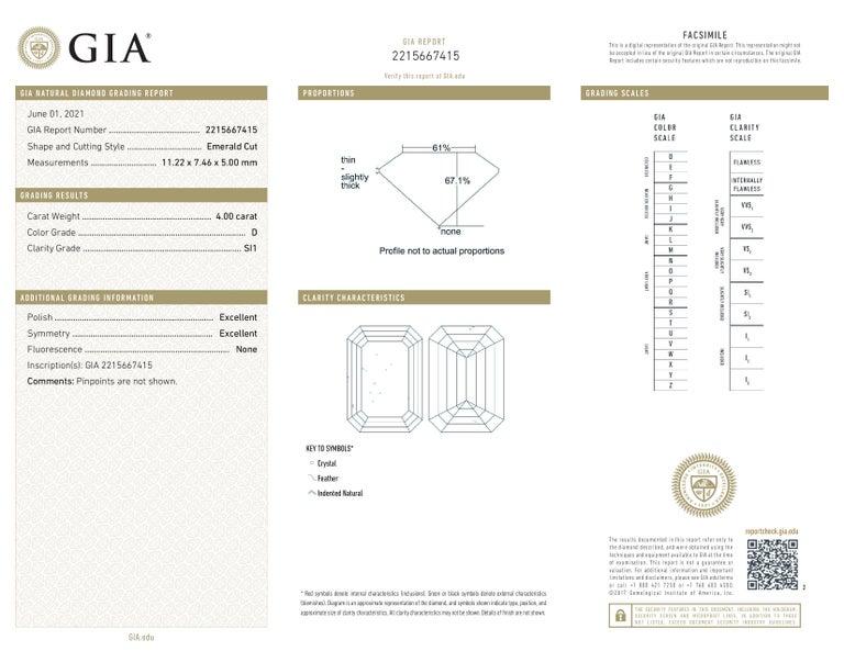 Women's or Men's GIA Certified 4.50 Carat Emerald Cut Diamond Ring Long Ratio For Sale