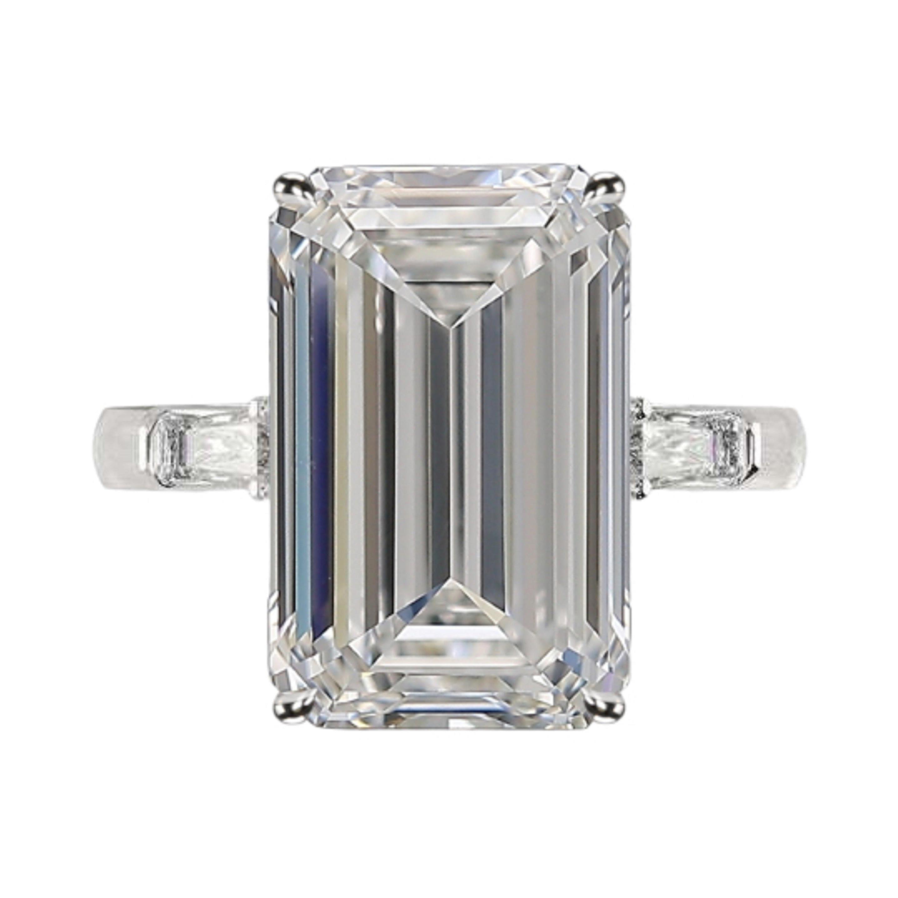 GIA Certified 5.50 Carat Long Emerald Cut Diamond Platinum Ring