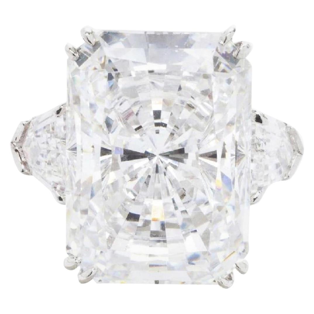GIA Certified 5.62 Carats  Long Radiant Cut Diamond Ring