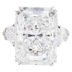 GIA Certified 5.62 Carats  Long Radiant Cut Diamond Ring