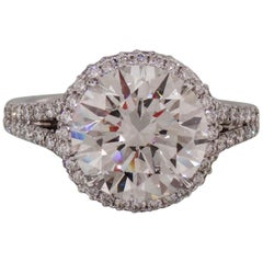 GIA Certified 3.50 Carat Round Brilliant Cut Diamond Halo and Pave Ring VS2