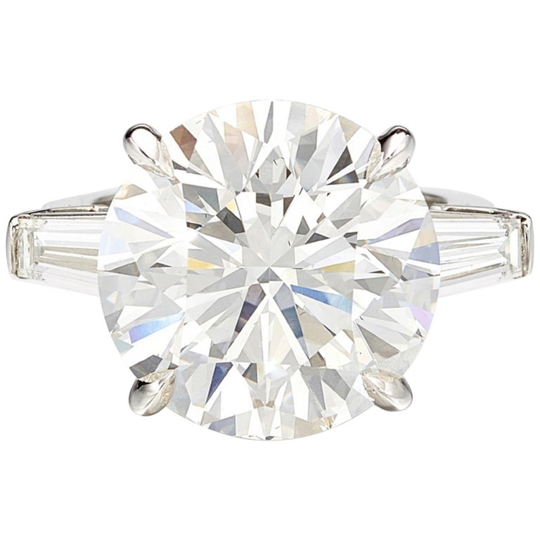 GIA Certified 7 Carat Round Diamond Platinum Ring Triple Excellent Cut For Sale