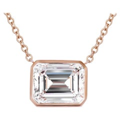 GIA Certified 5.53 Carat Emerald Cut Diamond Pendant Necklace