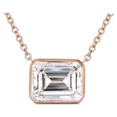 GIA Certified 5.53 Carat Emerald Cut Diamond Pendant Necklace