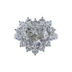 GIA Certified 5.55 Carat Heart Shape I VVS1 Diamond Platinum Engagement Ring