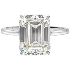 GIA Certified 5.56 Carat Emerald Cut Diamond Solitaire Engagement Ring