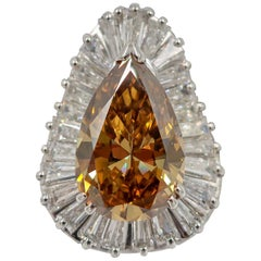 GIA Certified 5.58 Fancy Yellow Diamond Pear Brilliant Cocktail Ring