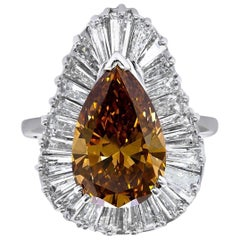 GIA Certified 5.58 Natural Fancy Yellow Diamond Pear Brilliant Cocktail Ring