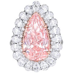 GIA Certified 5.59 Carat Pink Pear Shape Diamond Engagement Ring in Platinum