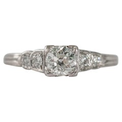 GIA Certified .56 Carat Diamond Platinum Engagement Ring