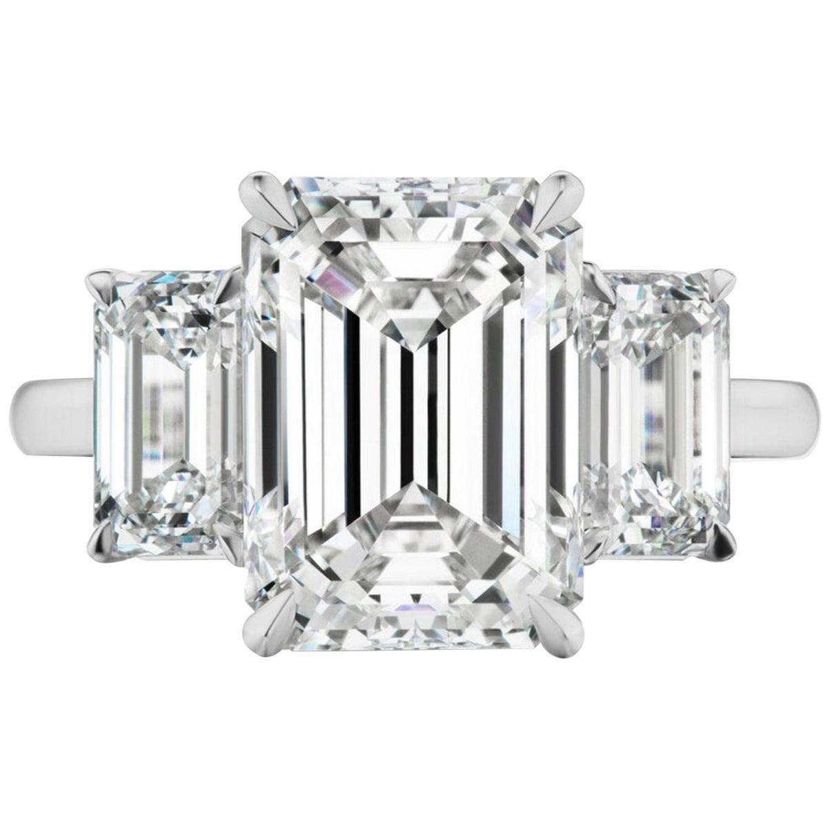 GIA Certified 5.60 Carat Emerald Cut Diamond Engagement Ring