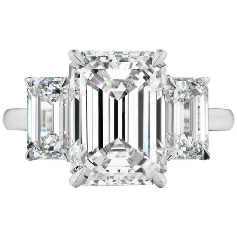 FLAWLESS GIA Certified 3.80 Carat Emerald Cut Diamond Engagement Ring For Sale