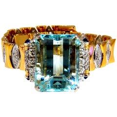GIA Certified 56.05 Carat Natural Aquamarine Diamonds Bracelet Bohemian Deco