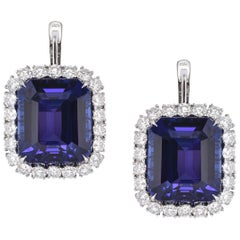 Laviere GIA Certified 56.08 Carat Tanzanite and Diamond Earrings