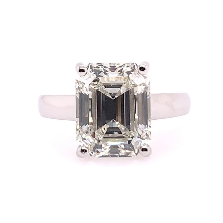GIA Certified 5.61 Carat Natural Emerald Cut Diamond I VS1 None Engagement Ring.  Clean 14k White Gold Ring size 7.5, weighs 6.9 grams.