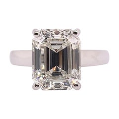 GIA Certified 5.60 Carat Natural Emerald Cut Diamond I VS1 None Engagement Ring