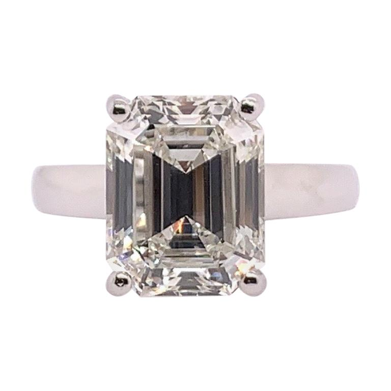 GIA Certified 5.60 Carat Natural Emerald Cut Diamond I VS1 None Engagement Ring For Sale