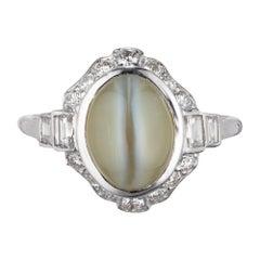 GIA Certified 5.65 Carat Cats Eye Chrysoberyl Diamond Platinum Engagement Ring