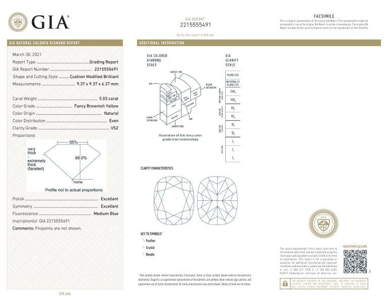 Cushion Cut GIA Certified 5.65 Carat Fancy Brown Yellow Cushion Diamond Ring  For Sale