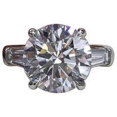 GIA Certified 5.65 Carat Round Brilliant Cut Trapezoid Diamond Ring