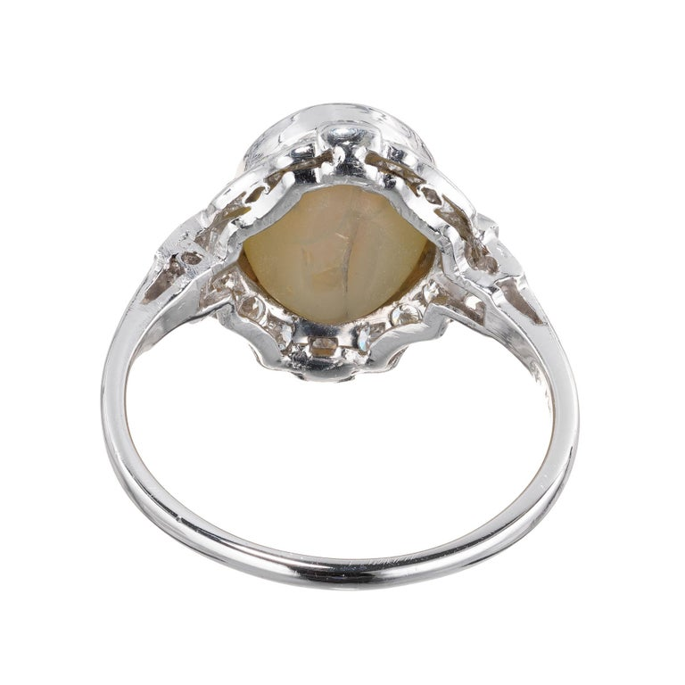 GIA Certified 5.65 Carat Cats Eye Chrysoberyl Diamond Platinum Engagement Ring In Excellent Condition For Sale In Stamford, CT