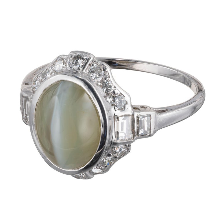 GIA Certified 5.65 Carat Cats Eye Chrysoberyl Diamond Platinum Engagement Ring For Sale 2