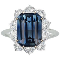 GIA Certified 5.66 Carat Unheated Blue Sapphire 18 Carat Gold Ring
