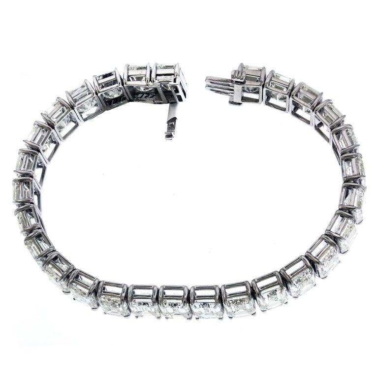 GIA Certified 56.62 Carat Emerald Cut Diamond Tennis Bracelet For Sale 1
