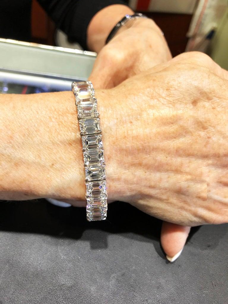 GIA Certified 56.62 Carat Emerald Cut Diamond Tennis Bracelet For Sale 2
