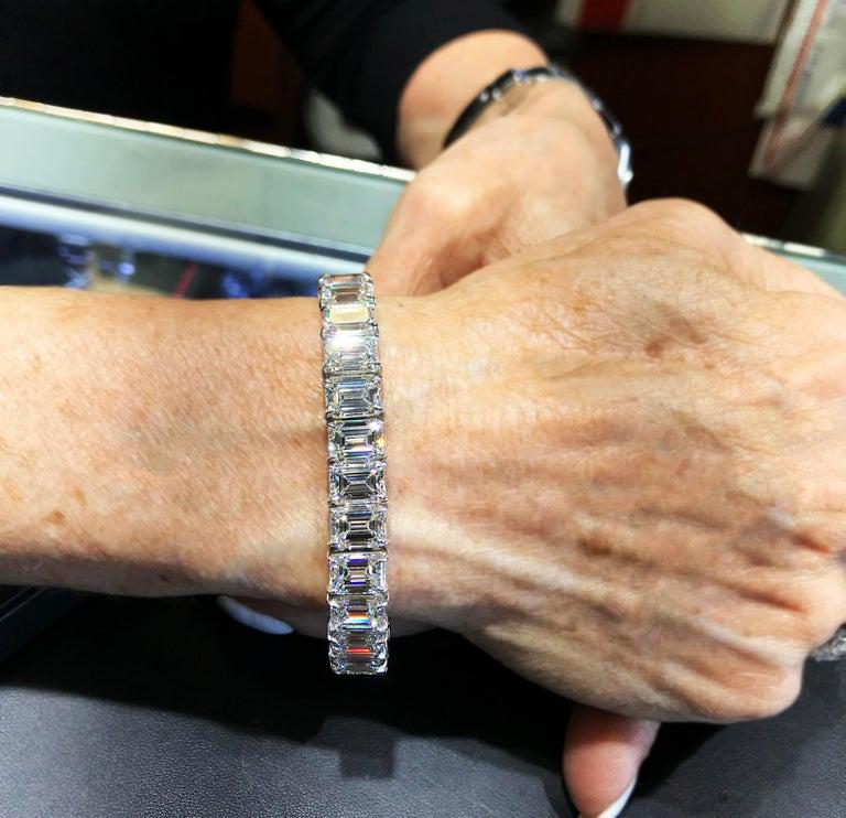 GIA Certified 56.62 Carat Emerald Cut Diamond Tennis Bracelet For Sale 3