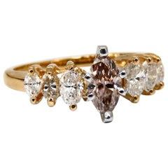 GIA Certified .56 Carat Fancy Pink Brown Marquise Cut Diamond Ring 14 Karat