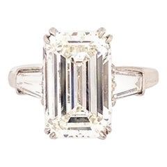 ISSAC NUSSBAUM NEW YORK GIA Certified 5.72 Carat Emerald Cut Diamond Ring