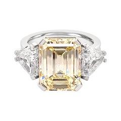 GIA Certified, 5.73k Light Yellow Diamond 2.3k White Diamond Trillion Cut Ring