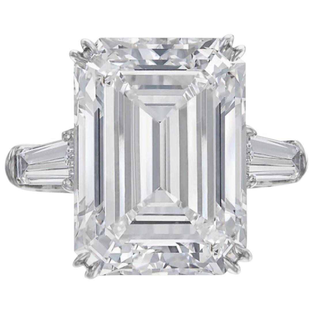 HRD Antwerp 7 Carat Emerald Cut Diamond Solitaire Engagement Ring