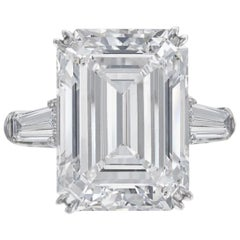 HRD Antwerp 7 Carat Emerald Cut Diamond Solitaire Engagement Ring