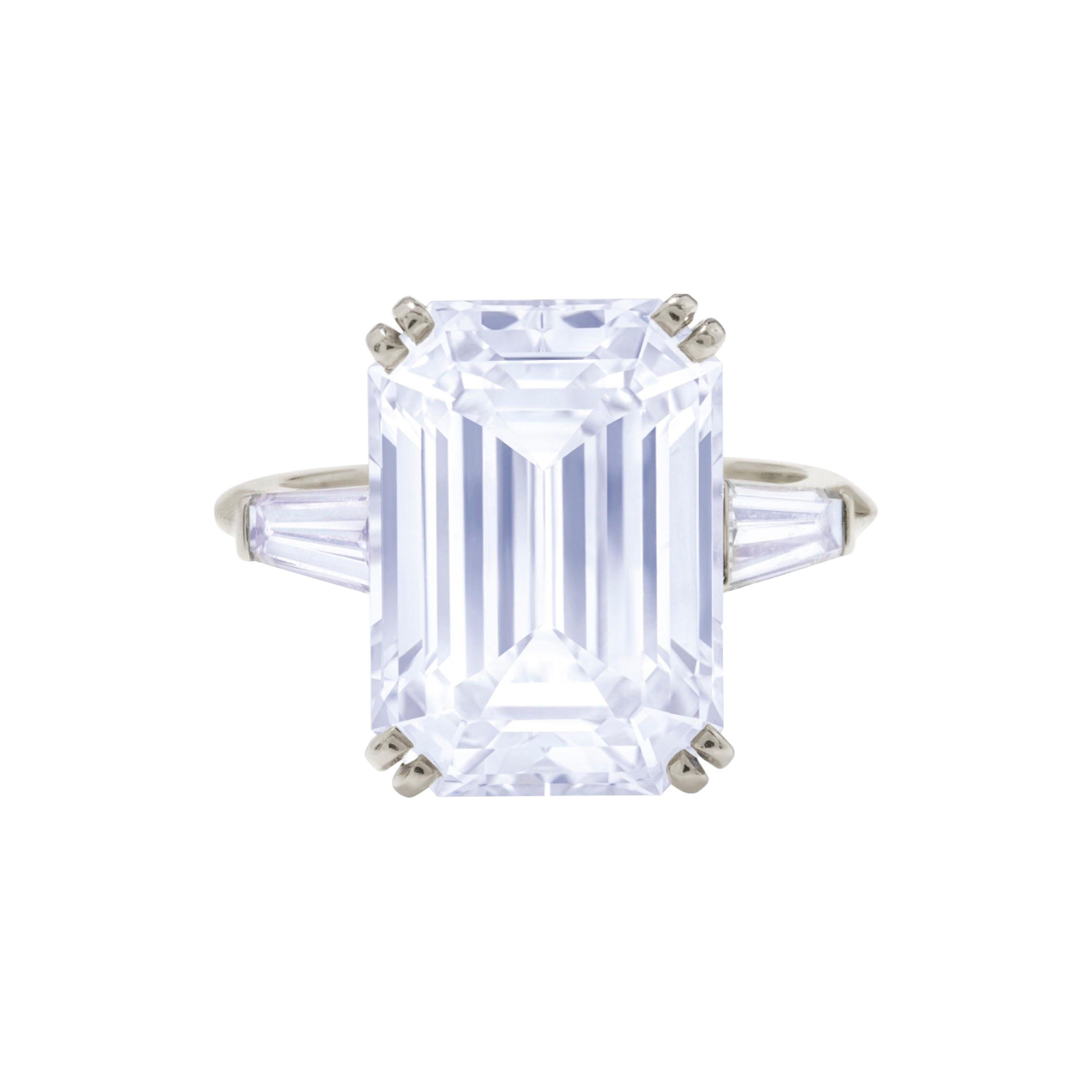 GIA Certified 5.75 Carat Emerald Cut Diamond Platinum Ring