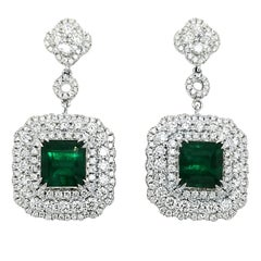 GIA Certified 5.78 Carat Emerald Earrings in 18 Karat Gold with 3.87 Ct Diamonds