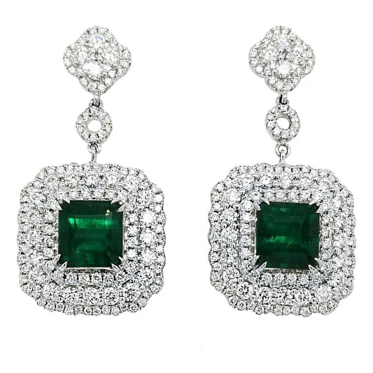GIA Certified 5.78 Carat Emerald Earrings in 18 Karat Gold with 3.87 Ct Diamonds For Sale